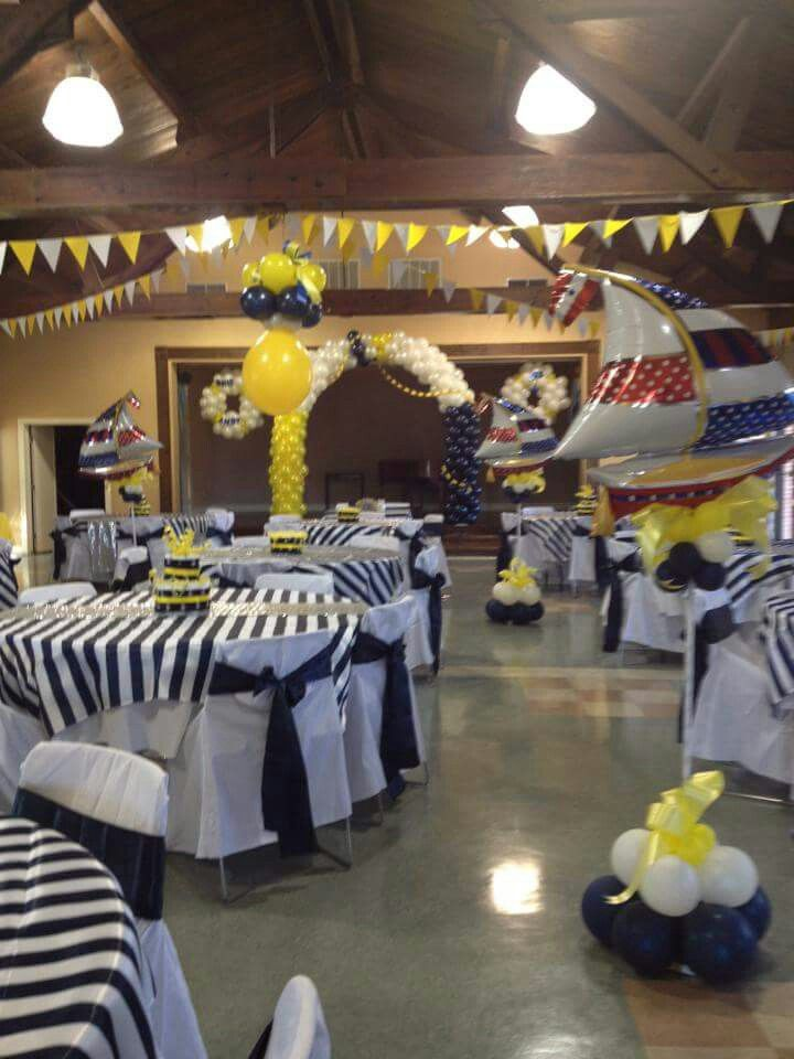 Navy And White Nautical Baby Shower Decorations