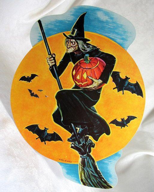 1959 eureka witch on broom die cut decoration four sizes 4 vintage holidayvintage halloweenvintage