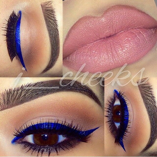 Cobalt blue eye liner make up look paired with pink lips #glam...x