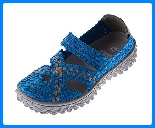 Damen Ballerina Sandalen Clogs Schuhe Pantolette TMA 140303 Hell Blau Grau Gr. 36 - Sandalen für frauen (*Partner-Link)