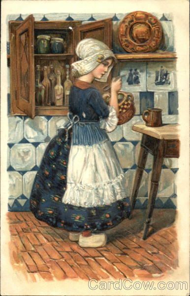 Dutch Girl in Kitchen vintage postcard