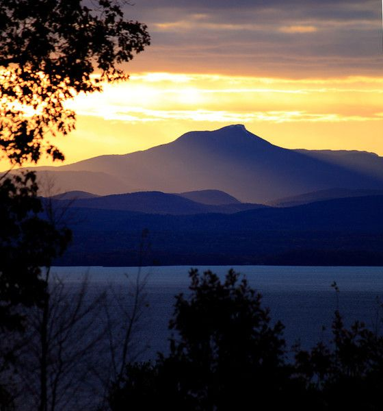 Sunrise over Camel's Hump, VT viewed from the NY side of Lake Champlain.