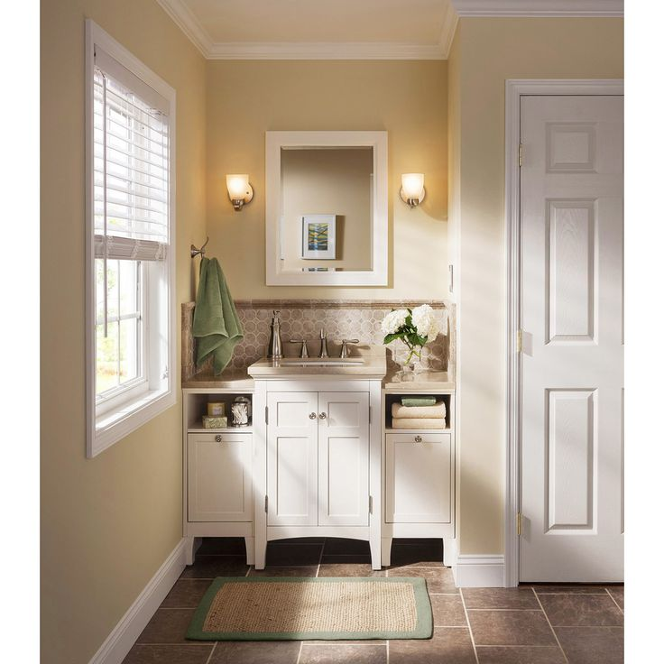 Web Photo Gallery Shop allen roth Norbury White Undermount Single Sink Poplar Bathroom Vanity with Engineered Stone Top Common x Actual
