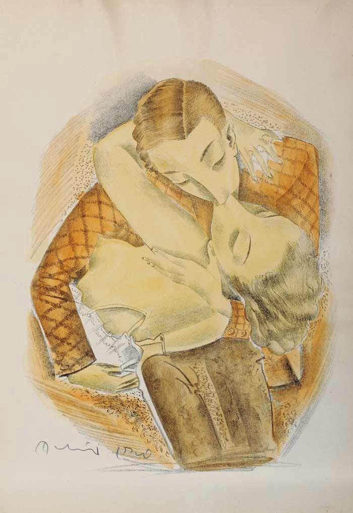 Molnár C. Pál (1894-1981) - Scène romantique avec  eau-forte, aquarelle, sans date