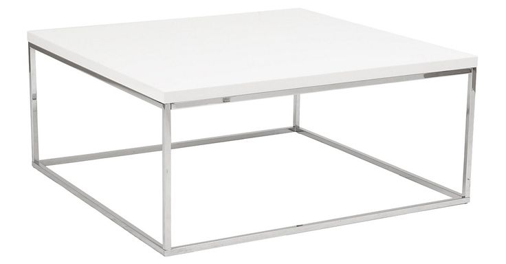 Framed in sleek steel with a white lacquer table, this streamlined coffee table is a great fit in any contemporary space.