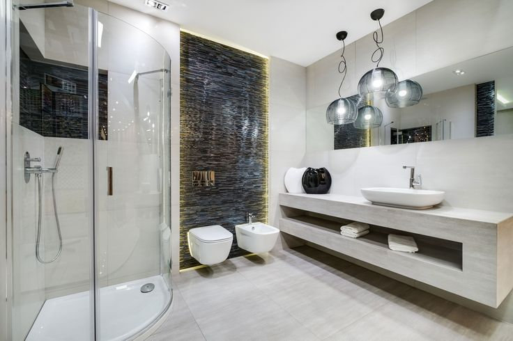 Ekspozycja Max-Fliz łazienka. biały, czarny, chrom, kabina rogowa okrągła, podświetlenie, płytki, płytki łazienkowe, kremowy, umywalka nablatowa, lustro. Łazienka Najwyższej jakości Płytki łazienkowe i kuchenne