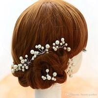 6 шт./лот красный / белый сплав горный хрусталь Hairwear u-образная форма перл из бисера шпильки дамы украшения JH102