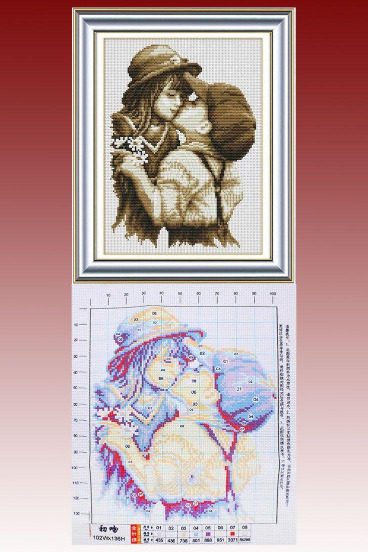 Cross stitch patterns Boy Kissing Girl