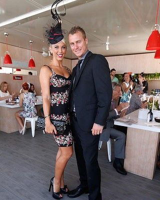 """Australia's tennis champ Lleyton Hewitt with his lovely wife Bec looking a picture at the 2013 Melb Cup..~ ~ ~ More celebrity pictures of the day can be found on my board  """"Hats & Hairdos"""""""