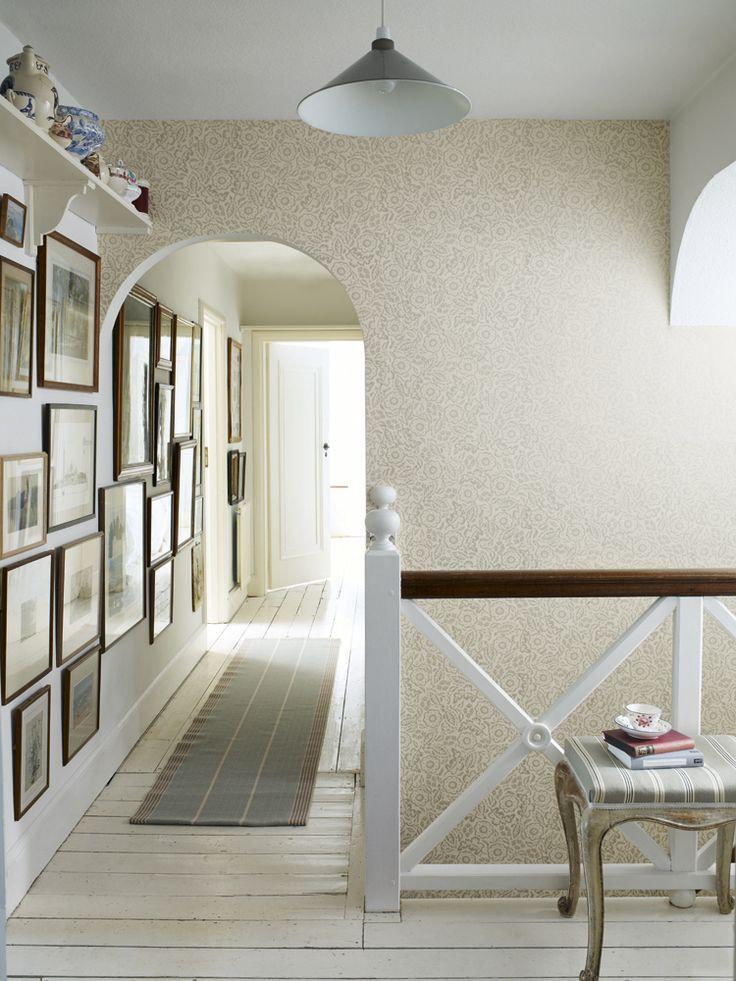 Swanson Celadon runner complements Sanderson's floral damask wallpaper