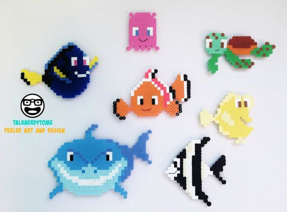 Disney Finding Nemo Perler Magnet Set by TalkNerdytoMePerler