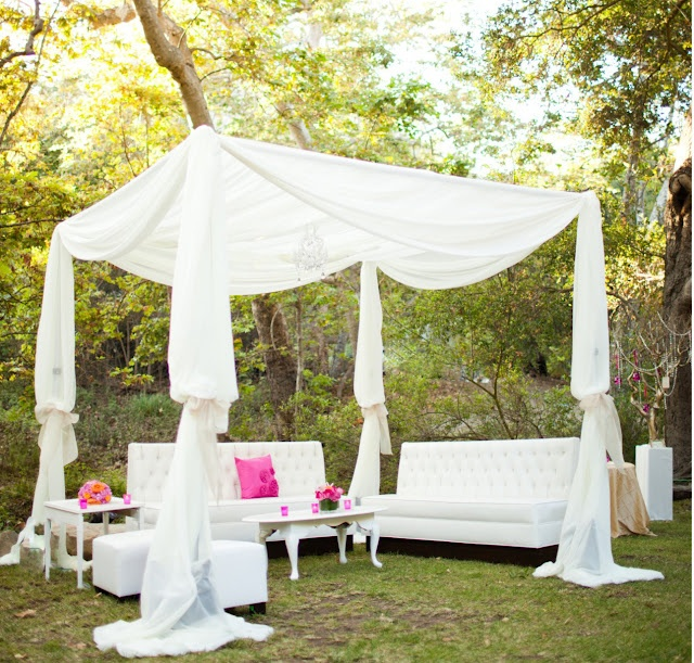 Outdoor Lounge - All white with pink & orange accents
