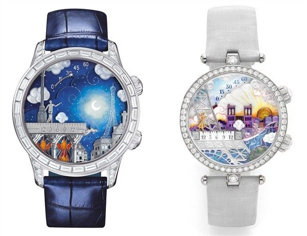 The Poetic Wish watches are proposed as a pair, for him (left) and for her