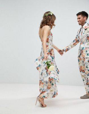 46ce0f5acf7 ASOS WEDDING Ruffle Hem Pinny Bodice Maxi Dress in Pretty Floral Print