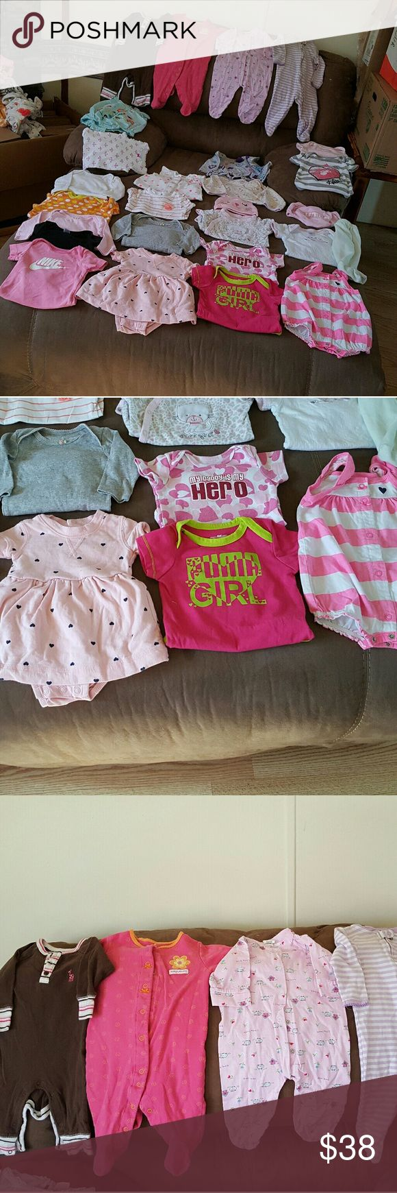 Baby girl lot 0-6 months  45 piece lot This lot has nike, puma, Adidas,  has a varsity jacket and a pair of pink and white nike crib shoes in it. Not to mention some really cute dress outfits, receiving blankets, matching outfits, matching hats, pants, and onsies. Matching Sets