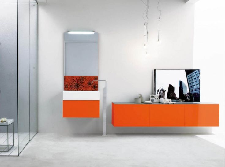 Orange Bathroom Vanities If Youre Main Or Guest Bathroom Is Shaped Like A Half Decorates The Small Space In A Way That Is Inviting And Further Can Be A