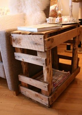 Pallet side table... cool. Love the shelf inside too!