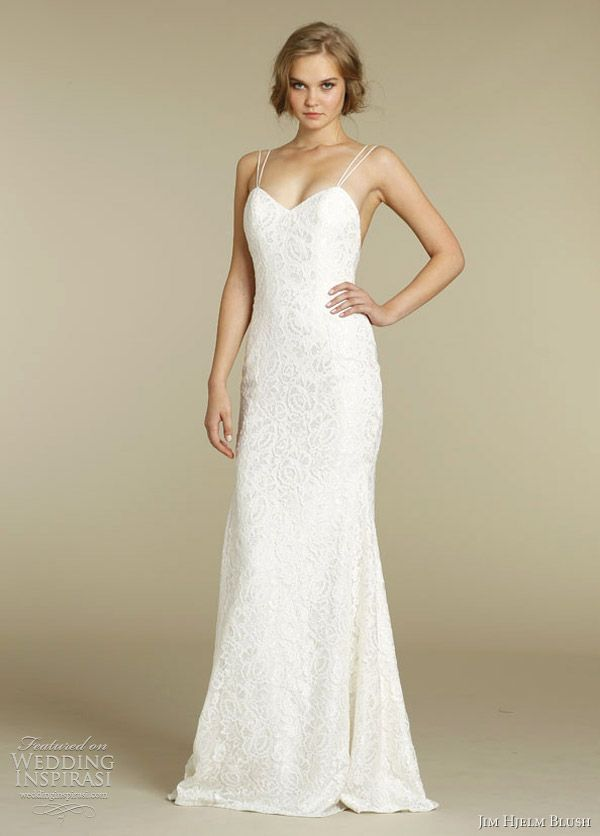 Jim Hjelm Blush Ed Slim Sheen Lace Wedding Gown With Double Straps