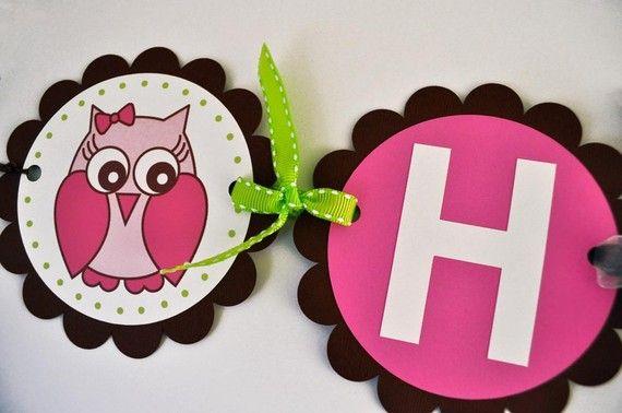 Girl Owl Birthday Banner - Girls Birthday Decorations - Woodland Birthday, Owl, Forest Theme Birthday on Etsy, $38.00