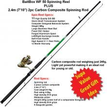 """What a great combo set at an unbelievable price of only $49.99, which includes our quality 11 b/b WF50 spinning reel along with a powerful, 2 piece, 2.4m (7'10"""") carbon composite fishing rod."""