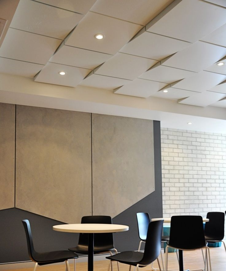 an industrial look alternative to typical acoustic tile drop ceiling