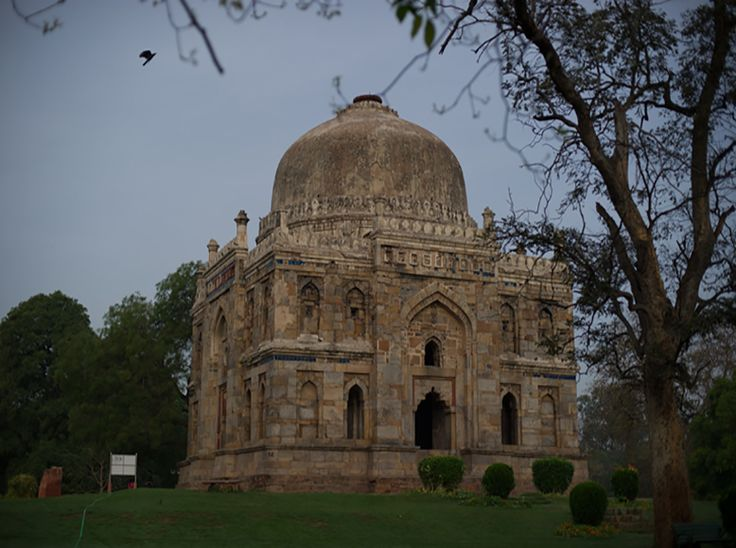 Shisha Gumbad is a tomb from the last lineage of the Lodhi Dynasty and is thought to have possibly been constructed between 1489 and 1517 CE. The Shisha Gumbad (glass dome) houses tombs of an unknown family that may have been a part of the Lodhi family and a part of Sikandar Lodi's court.