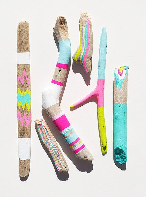 Driftwood Art - 6 Piece Painted Sticks - Neon, Pastel, Chevron, Triangles, Ikat, Color Block - Tribal Inspired Pattern, Geometric. $120,00, via Etsy.