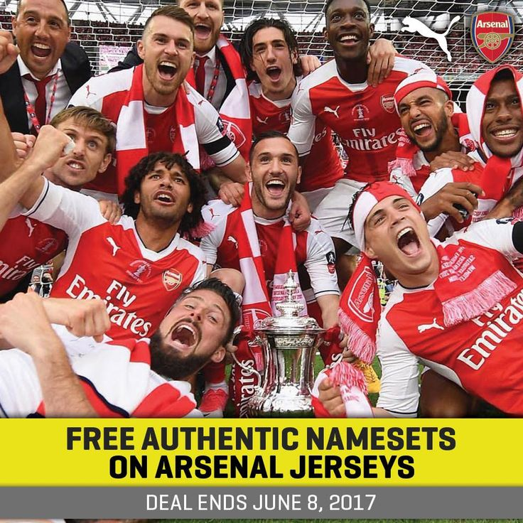 Celebrate the FA Cup kings! Get a free nameset with your Arsenal jersey purchase for a limited time. Shop > http://www.soccerpro.com/Arsenal-c141/