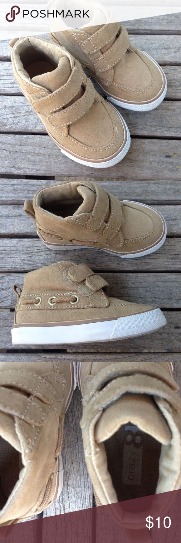 Toddler Boys Hiking Boots Perfect for that little boy. Sturdy Crazy 8 beige boots with loop and hook fasteners Size 5 Very little wear – check out my other toddler boy shoes and bundle them to receive a great deal. Crazy8 Shoes Baby & Walker