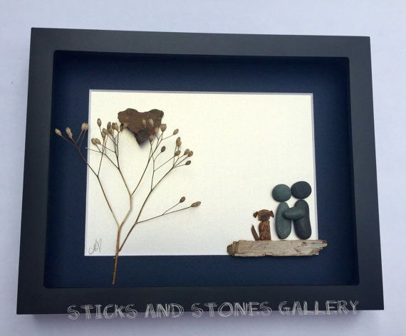 Pebble Art Couple Gift Personalized Couple Gift by SticksnStone