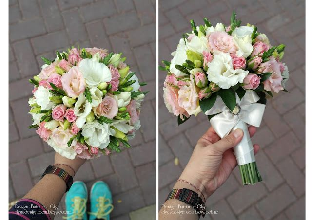 Baiciurina Olga's Design Room: Нежный букет невесты в теплых оттенках розового и персикового цветов-Tender pink,peach&ivory wedding bouquet