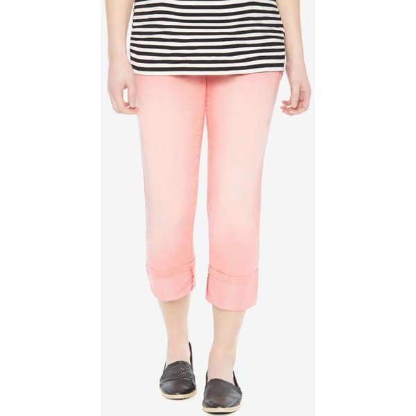 Motherhood Maternity Twill Capri Pants ($25) ❤ liked on Polyvore featuring pants, capris, sunkist coral, twill capri pants, twill pants, relaxed fit capri pants, twill trousers and capri trousers