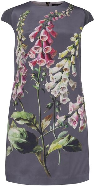 Ted Baker Sindee Silk Printed Dress in Gray (cream) - Lyst