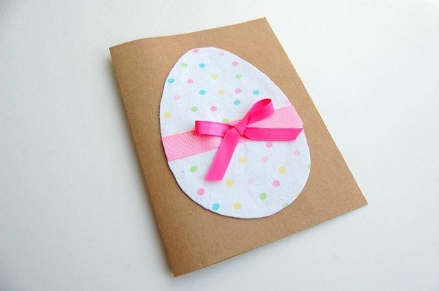 Osterkarte selber machen süßes Design rosa