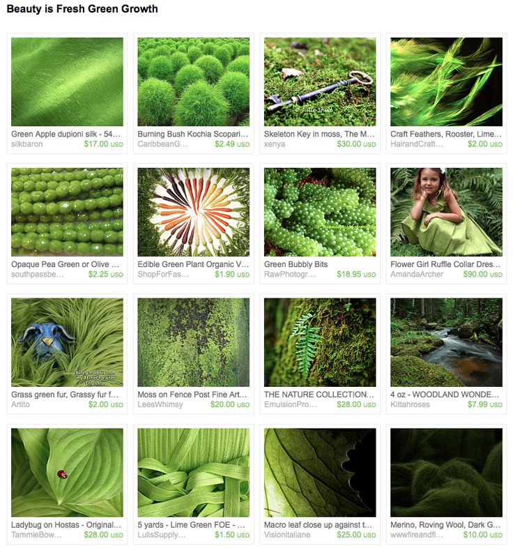 """I put together this treasury """"Beauty is Fresh Green Growth"""" for the #FlashMob."""
