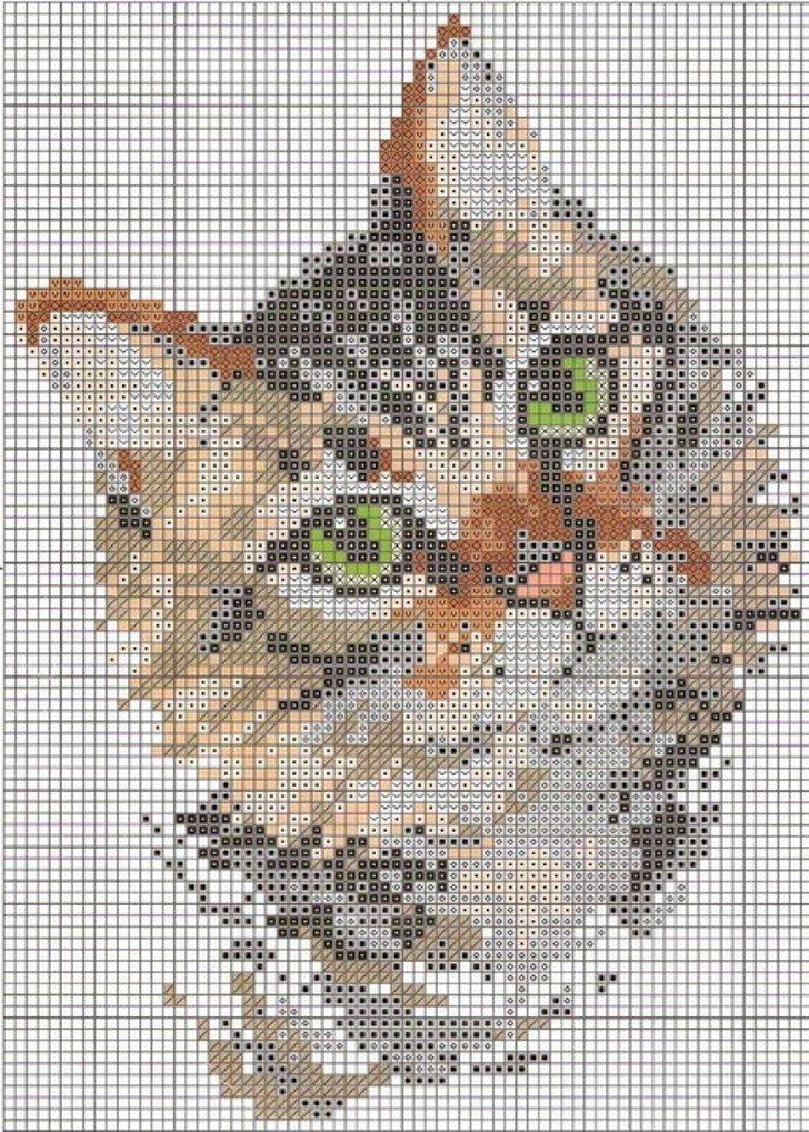 Este es uno de los patrones de punto de cruz más bonitos que he visto, se trata de un esquema de un gato mirando hacia fuera. Es muy realis...