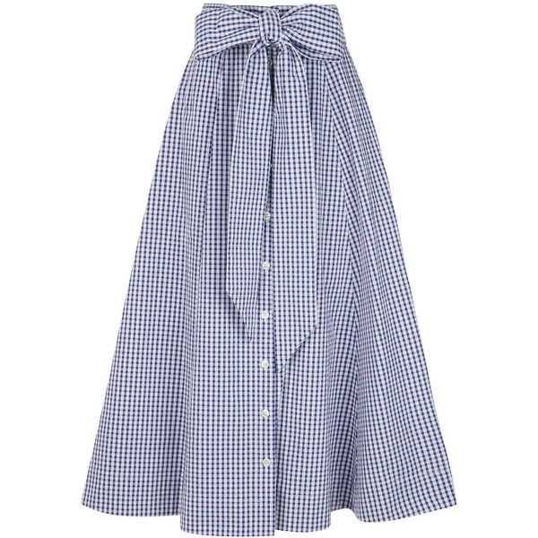 Lisa Marie Fernandez Navy Cotton Gingham Beach Skirt found on Polyvore featuring skirts, beach skirt, gingham skirt, full skirt, wrap skirt and wrap around skirt