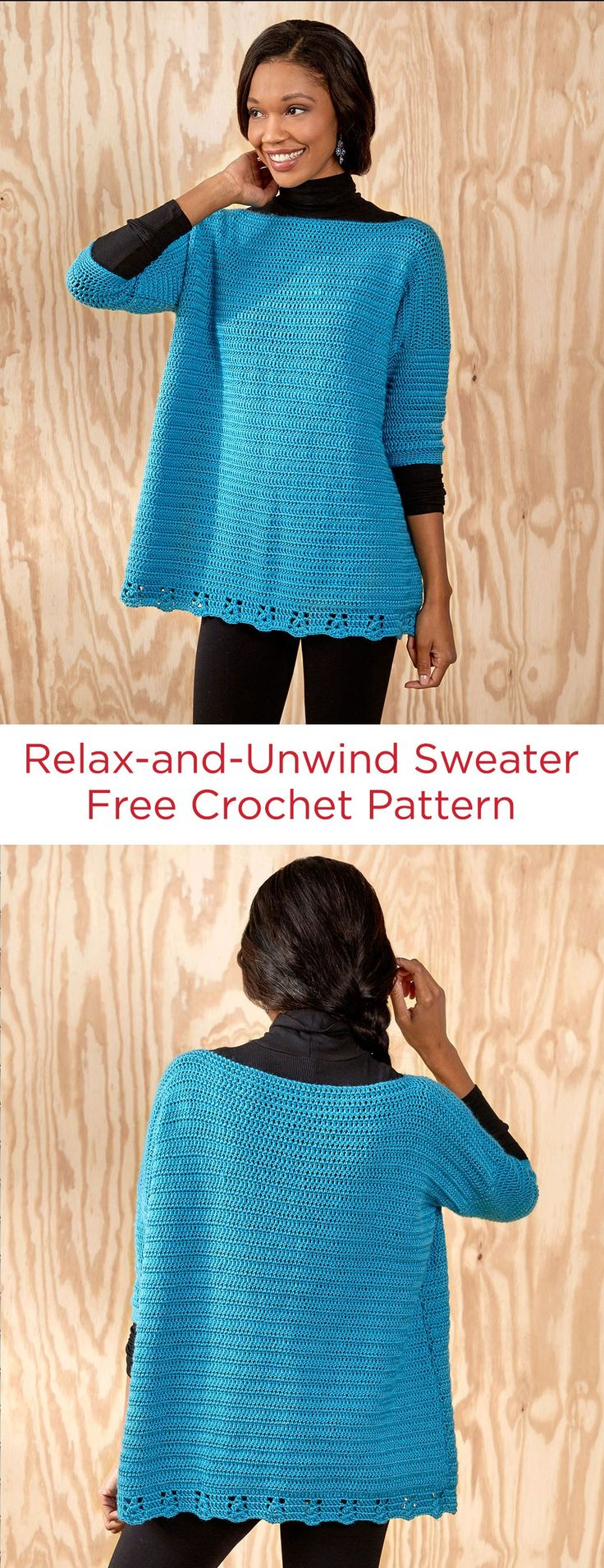 Relax-and-Unwind Sweater Free Crochet Pattern in Red Heart Yarns -- This crochet sweater gives you a roomy, relaxed attitude while looking great! Lower border detail adds just the right finish with easy cluster stitches. Lightweight yarn can be worn with a tank in warmer weather or a turtleneck in cooler weather. Pattern is given for sizes X-Small to 3X.