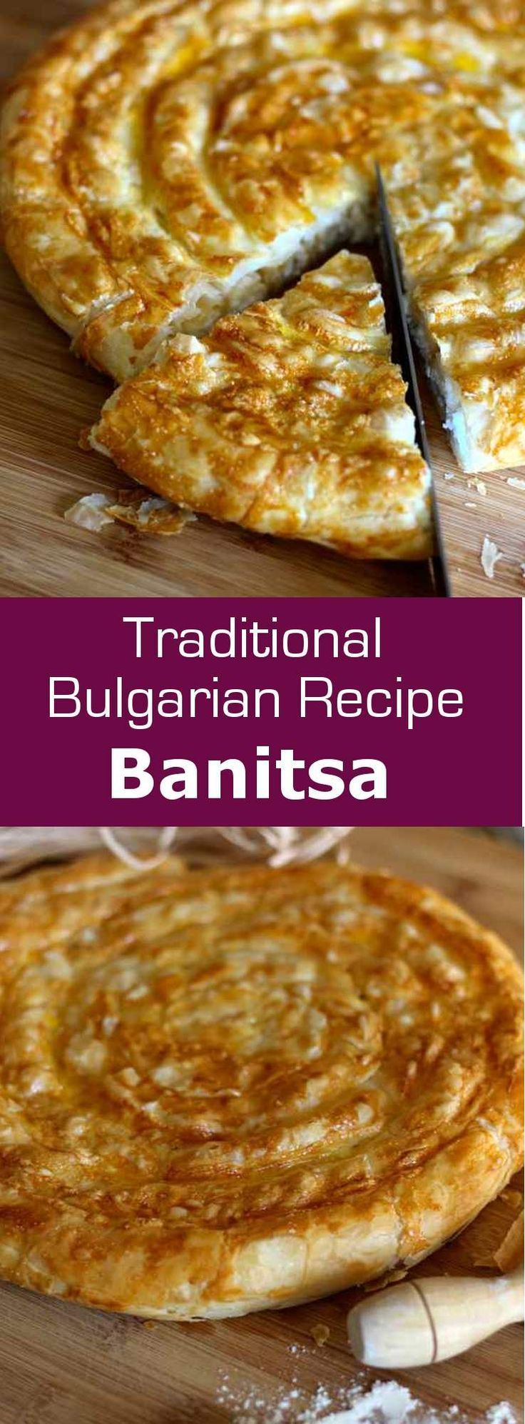 Banitsa is a traditional Bulgarian recipe that consists of eggs and cheese between filo pastry sheets formed in a spiral before baking.  #cheese #bulgaria #196flavors