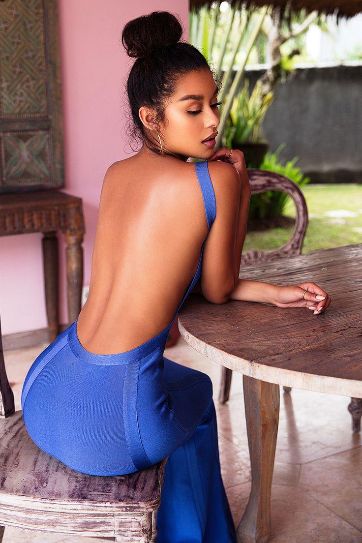 Clothing : Max Dresses : 'Ophelia' Cornflower Blue Backless Maxi Bandage Dress