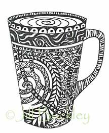 Used as resource for drawing onto real mugs for art auction