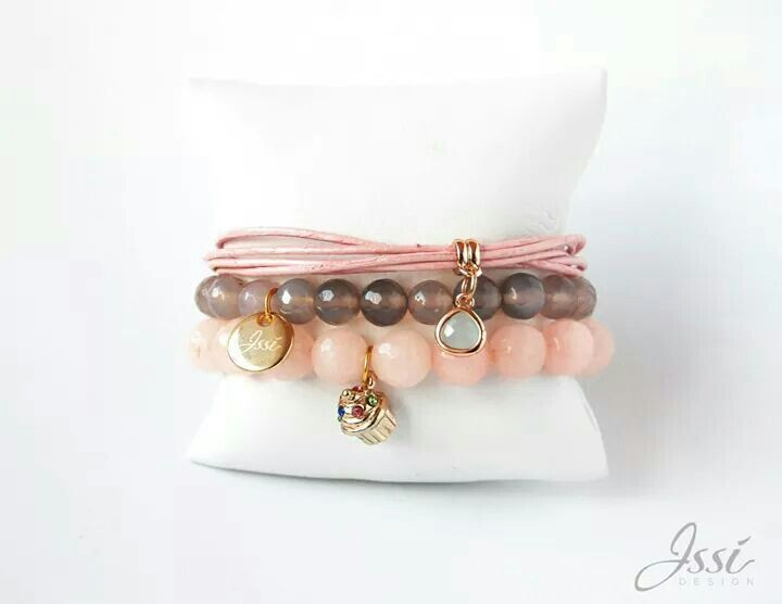 Sweet cupcake set - jewellery by Issi , stones and leather , polish brand