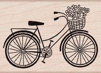 vintage bicycle with basket stencils | Hero Arts Rubber Stamp BICYCLE F5293 Bike Basket Flowers