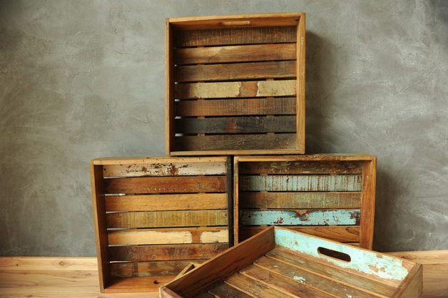 Tablett aus altem Fundholz / tablet made of old wood by Vintage-Romance via DaWanda.com