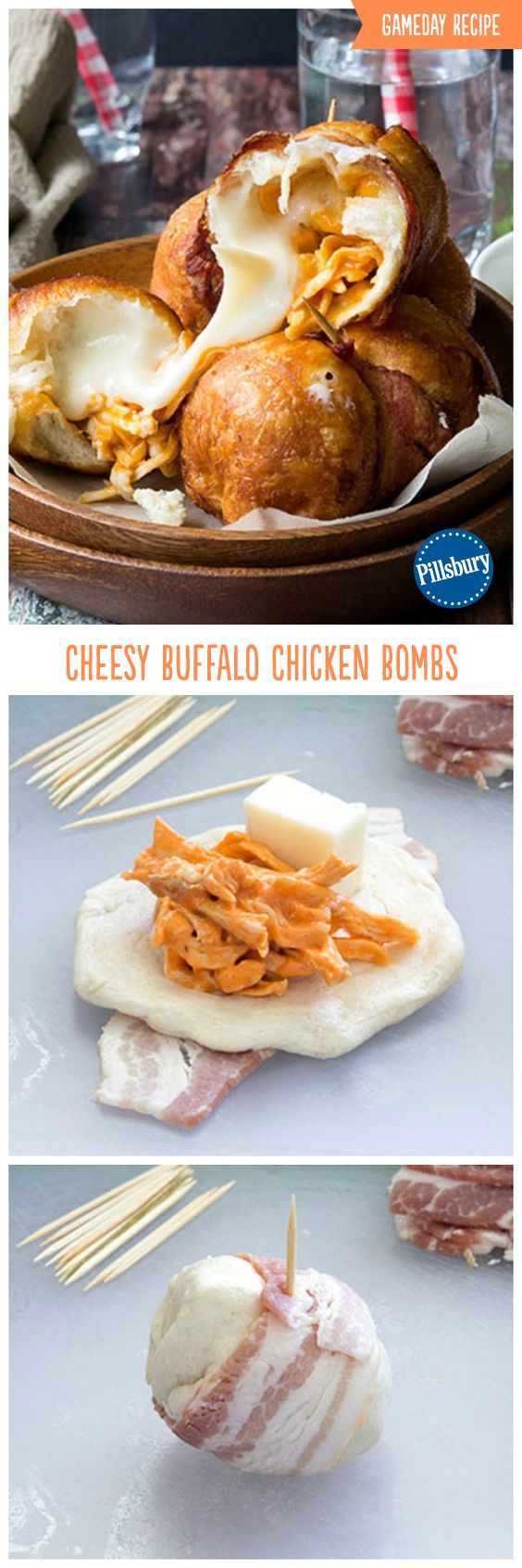 The Game Day snack no one can resist! These Cheesy Buffalo Chicken Bombs are stuffed with ranch, buffalo, bacon and cheese wrapped inside a biscuit. The perfect appetizer for hosting your friends and family.