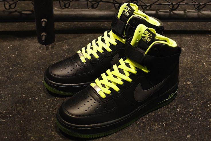 Nike Air Force 1 Hi 'Black/Volt': Air Force 1, Footwear, Nike Air Force, Black Black Volt Sneakers, Blackblackvolt Sneakers, Nikes, High, Kicks Sneakers, 07 Blackblackvolt