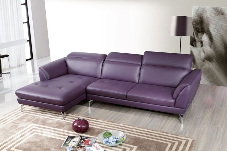 Orchard Sectional Sofa | Purple Leather by Beverly Hills