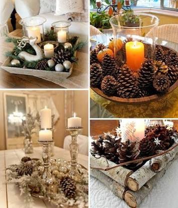 Resultado de imagem para decoração de natal com madeira e pinhas