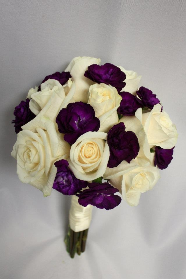 White and purple bouquet from Weddings.. www.giftsxpert.in