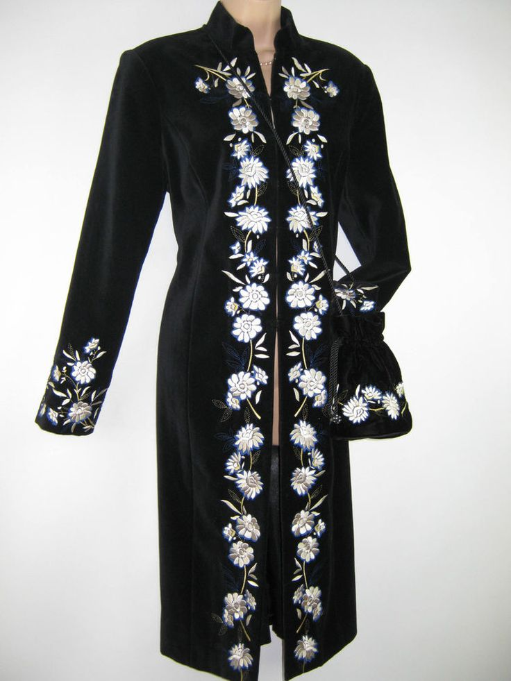 LAURA ASHLEY BLACK VELVET FLORAL EMBROIDERED EVENING / DRESS COAT, 12